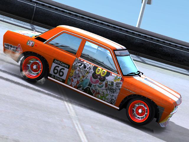 Trackmania Carpark • 2D Skins • Datsun 510 StickerSlam